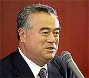 橋本県知事候補が挨拶