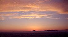 県庁25階からの筑波山の夕焼け