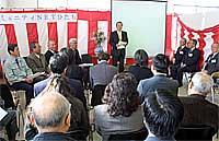 コミュニティNETひたち開所式で挨拶する樫村市長