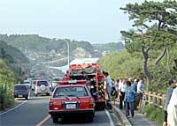 川尻町地内で海水浴事故現場に遭遇しました