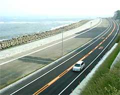 開通した日立バイパス宮田地区緩傾斜護岸:クリックすると大きな写真になります。