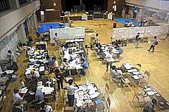 三条市災害ボランティアセンターの内部