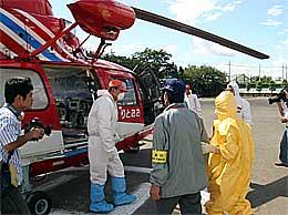 千葉県の防災ヘリコプターで被爆者を搬送