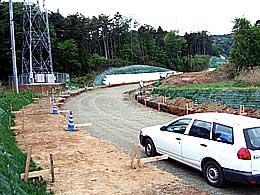 塙山団地最上部で行われているアクセス道路整備
