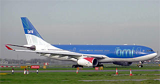 bmi Airbus A330-200 (G-WWBB) in the take off queue at London (Heathrow) Airport, England.Photographed by Adrian Pingstone in November 2005 and released to the public domain.