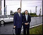 今川敏宏高萩市議会予定候補と花貫踏切を現地調査