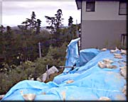 十王町山部の住宅裏の崖が崩壊